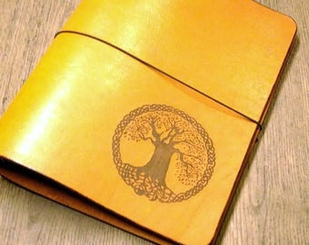 Orange Leather Notebook Tree of Life Journal Cover Refillable 6 Ring Binder Thick Leather A5 Organizer Diary Wicca Travel Book