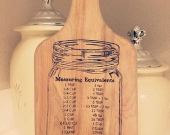 Wood Burned Conversion Chart on Paddle/Cutting board