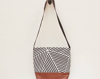 Cross Body Bag- Angled Striped Canvas, White and Black, Geometric Pattern, Brown Vegan Leather Bottom, Black Leather Strap