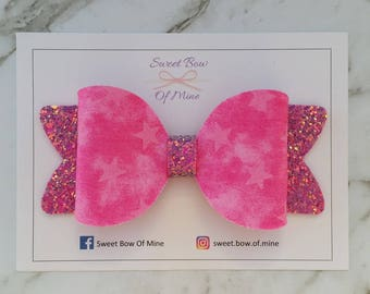 Large Hair Clip | Pink Stars & Glitter | Hair Bow, Hair Clip, Glitter Bow, Oversized