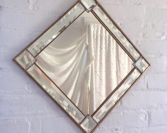 Vintage Handmade Beveled Glass Mirror