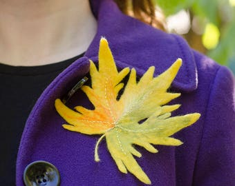 Beauty Gift|for|Her Felted Brooch Maple Leaf Brooch Yellow Brooch Pin Coat Fall Jewelry Woodland Brooches Nature Jewelry Gift|for|Wife