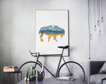 Printable Poster, Nature Decor, Bison Print, Animal Poster, Modern Art, Modern Print, Minimal Print, Modern Wall Art, Printable Art