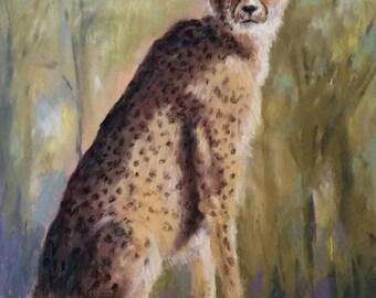 Fine Art Original Pastel Painting Cheetah in Sun