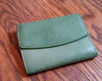green leather wallet, 1960s wallet, vintage leather wallet, tri fold wallet, rolfs avocado green leather wallet