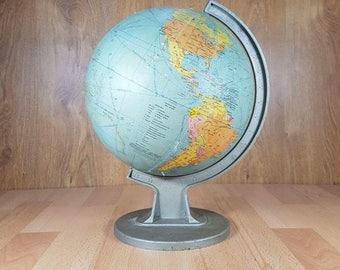 Vintage globe - Old globe - Maps - Big world globe - Desk globe - Home decor - Office decor.