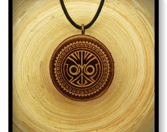 "Soul slices ""Maori, Polynesian, Tiki 14"" wooden necklace, Vintage * Ethno * hippie * MUST have * statement *"