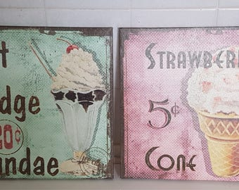 Pink and Green Kitchen or Dining Room Vintage Decor Wall Frames