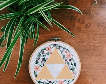Triforce and Flowers Cross Stitch Pattern