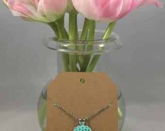 Chrysanthemum Necklace Mint Blue