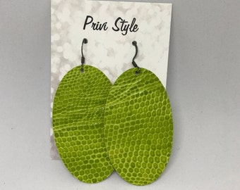 Lime Green Oval Earrings