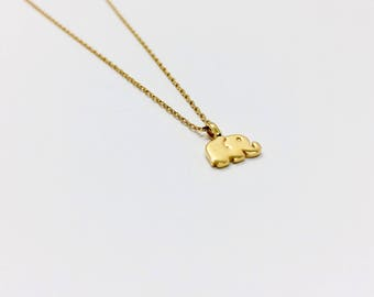 Elephant Necklace Gold Plated over Sterling Silver