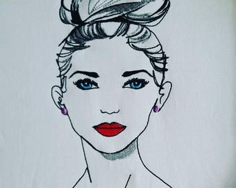 Elegant Woman with bun and red lips Machine Embroidery Design. 5x7/6x10 Digital file