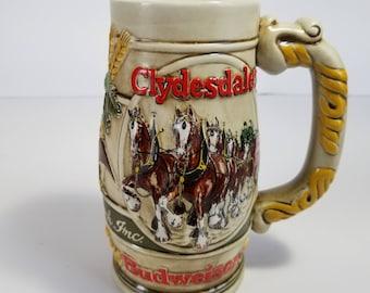 Vintage Budweiser Holiday Beer Stein Mug Clydesdales Ceramarte Brazil 31