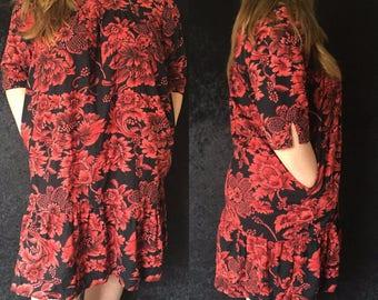 Vintage PLUS SIZE 1960s Floral Dress
