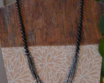 Hematite Onyx Necklace Classy Black Natural stone