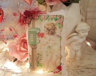 Vintage Shabby Chic Pink Cupid Valentine Lavender Sachet Love Pillow Key Charm Romantic Pillow Vintage Lace Valentine Cherub Hanging Sachet