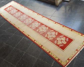 Oushak runner rug,turkish vintage runner,kitchen rug,anatolia runner,rug runner,vintage runner rug,oushak rug.302x77/9'9x2'5