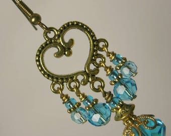 Sumptuous Aqua Crystal and Antique Gold Chandelier Earrings