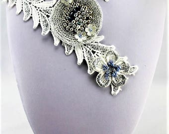 DECADENCE' -- Crochet & Beaded Handmade White and Silver Necklace