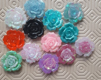 Roses, Flowers, Bows, Stars, Hearts Crosses Kawaii Resin Cabochons