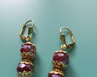 Dangle Earrings / Red Earrings / Gold Earrings / Statement Earrings / Bridesmaid Gift /Gift for Her / Boho Earrings / Wedding