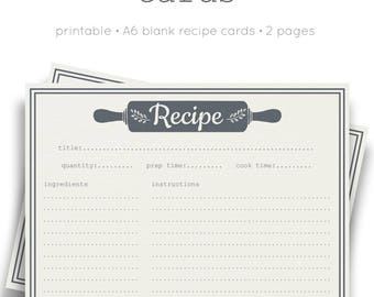 Printable Recipe Cards | A6 Recipe Cards | Cooking Cards | Pretty Stationery | Domestic Printables | Blank Recipe Cards