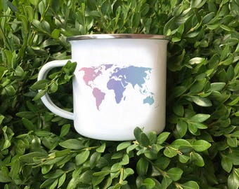 World Map Camper Mug, World Traveler Mug, World Map Silhouette, Traveler gift, Backpacker Mug, Traveler Mug,