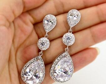 Wedding Earrings Zirconia Earrings Rhinestone Earrings Bridal Earrings Wedding Jewelry Bridesmaid Earrings Bridal Jewelry Wedding Accessory