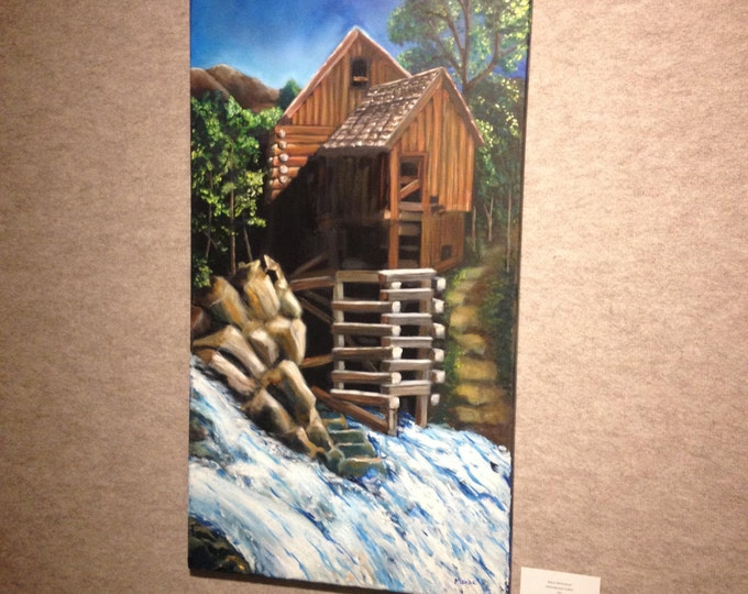 Abandon Cabin Painting, Oil Painting of a Cabin by the River, Cabin Oil Painting