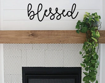 Blessed Word Wood Cut Out Wall Art Farmhouse Decor
