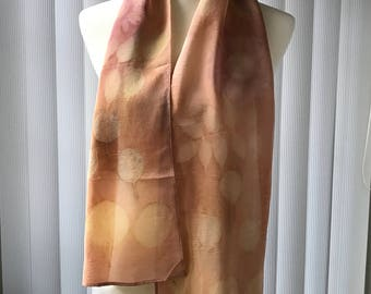 Hand made, dyed, eco printed crepe de chine silk scarf