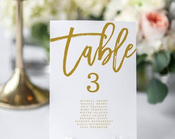 Gold Table Numbers Modern Wedding Seating Chart  Table Numbers Editable Table Numbers Template Seating chart Template Table Numbers Template