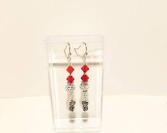 Ruby Red Swarovski Crystal Heart Earrings, Heart Valentine Earrings, Valentines Dangle Earrings, Red Valentines Earrings, Red Heart Earrings