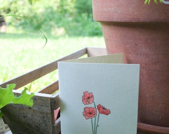 Red Poppy // Handmade Blank Card // Watercolor