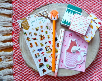 Fox Forest Friends Stationery Kit, Fox Pen, Memo sticker Fox, Washi tape Fox, Stickers Fox, Foxy Stationery