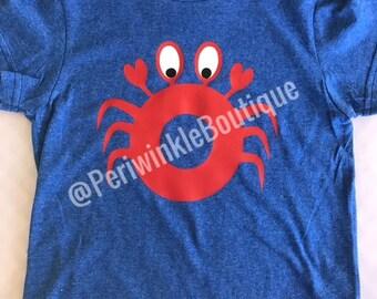 CLEARANCE, Crab Shirt, Boys Shirt, Personalized Shirt, Beach, Summer