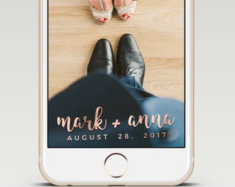 Simple Elegant Rose Gold Calligraphy Custom Snapchat Wedding GeoFilter