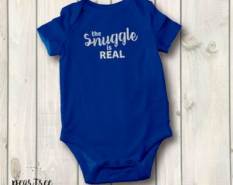 The Snuggle is Real - Baby Bodysuit - silver vinyl