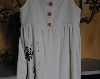 Girls Organic Natural Dandelion Hand painted Dress with Wooden Flower Buttons Hemp/Organic cotton blend
