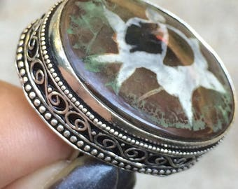 Vintage silver ring and septarian size 59. Antique ring. Old ring. Bohemian ring. Boho ring. Septarian gronate. AmanaraBoutique