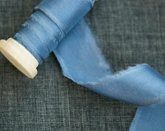 French Blue Silk Ribbon;  100% Silk; Periwinkle Blue, Wedding bridal bouquet, invitations, wedding favors