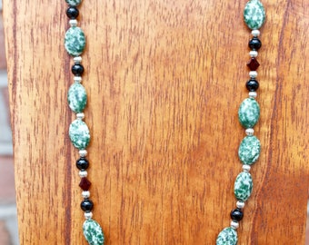 Russian Agate, Black Onyx and Swarovski Crystal Necklace