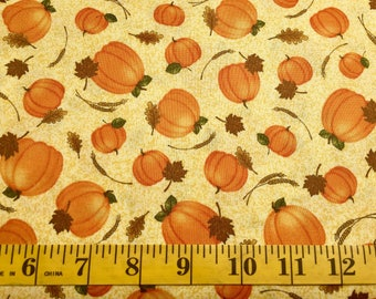 Quilting Treasures Pumpkins Harvest Greetings 25822-S Cotton Fabric By the Yard