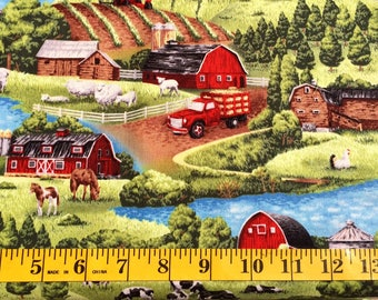Paintbrush Quarters Barn Field and Cows Farm Living Scenic Cotton Fabric By the Yard