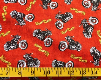 Quilting  Treasures  Biker For Life Motorcycle  Toss Red  26018 R Cotton Fabric By the Yard