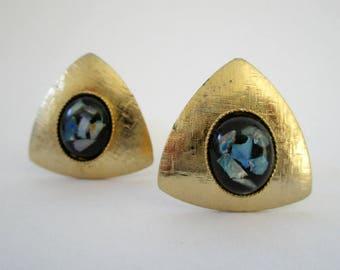 Vintage opal cufflinks, opal chip cufflinks, gold and opal cufflinks