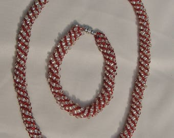 Russian Spiral Necklace and Bracelet Set in Red and Crystal