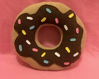 Super Plush Chocolate Donut Food Pillow with Sprinkles