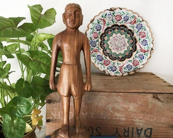 Vintage Carved Wood Indian Man - hand carved - Bohemian Boho Eclectic Jungalow - Decor Style Home - India sculpture #0102